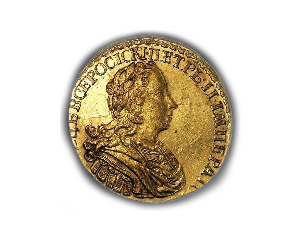 Образец 1727 года. Золотая монета 2 рубля Петр II