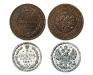 Сравнение монет номиналом 5 копеек 1881 в серебре и меди. Аверс и Реверс