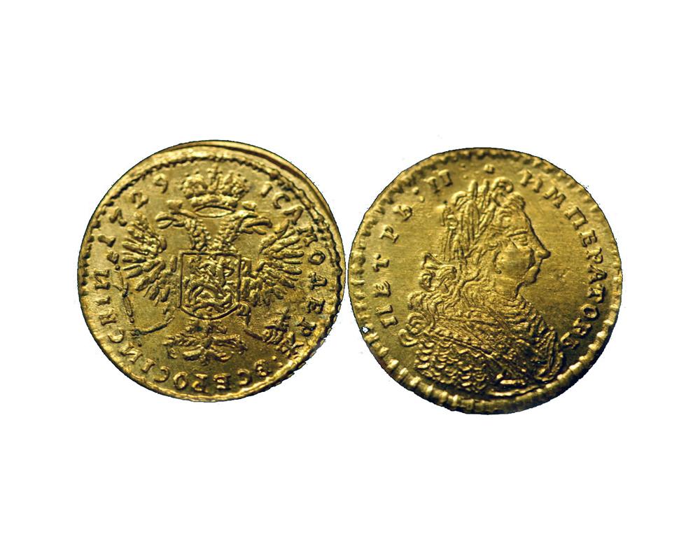Червонец 1729 года. Лицевая и оборотная сторона