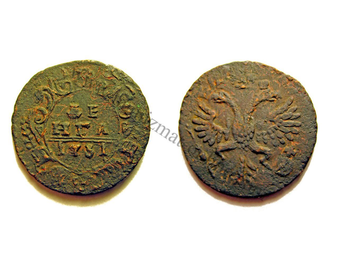 Денга 1731 года. Изображение аверса и реверса монеты