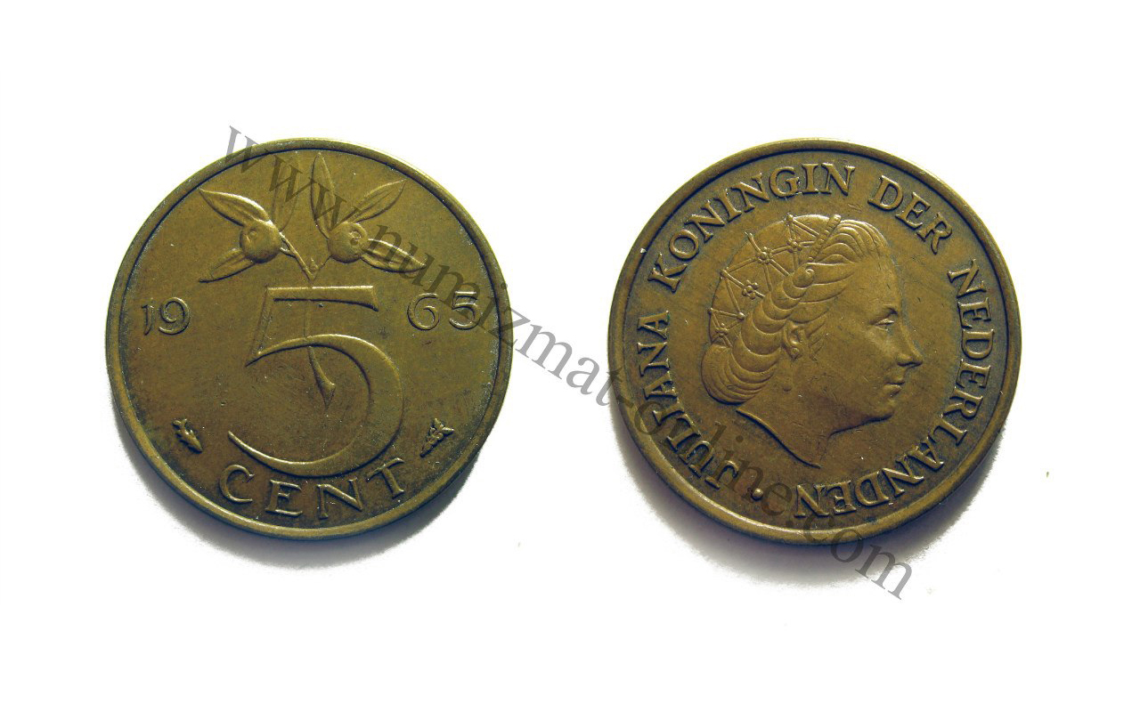 5 Центов 1963 года. Нидерланды. Аверс и Реверс