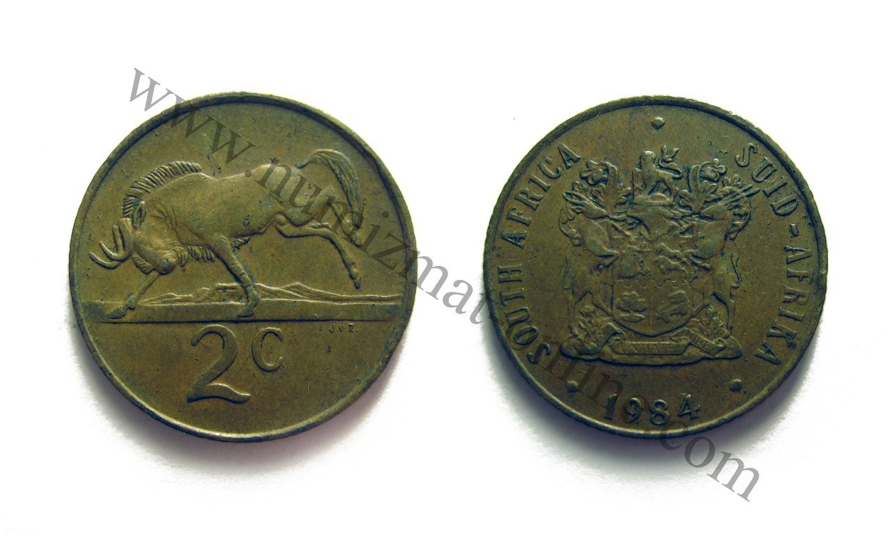 2 Цента 1984 года. Южно-Африканская Республика. Аверс и Реверс