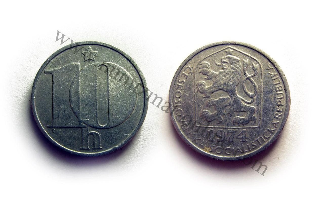 10 Халлеров 1974 года. Чехословацкая Республика. Аверс и Реверс