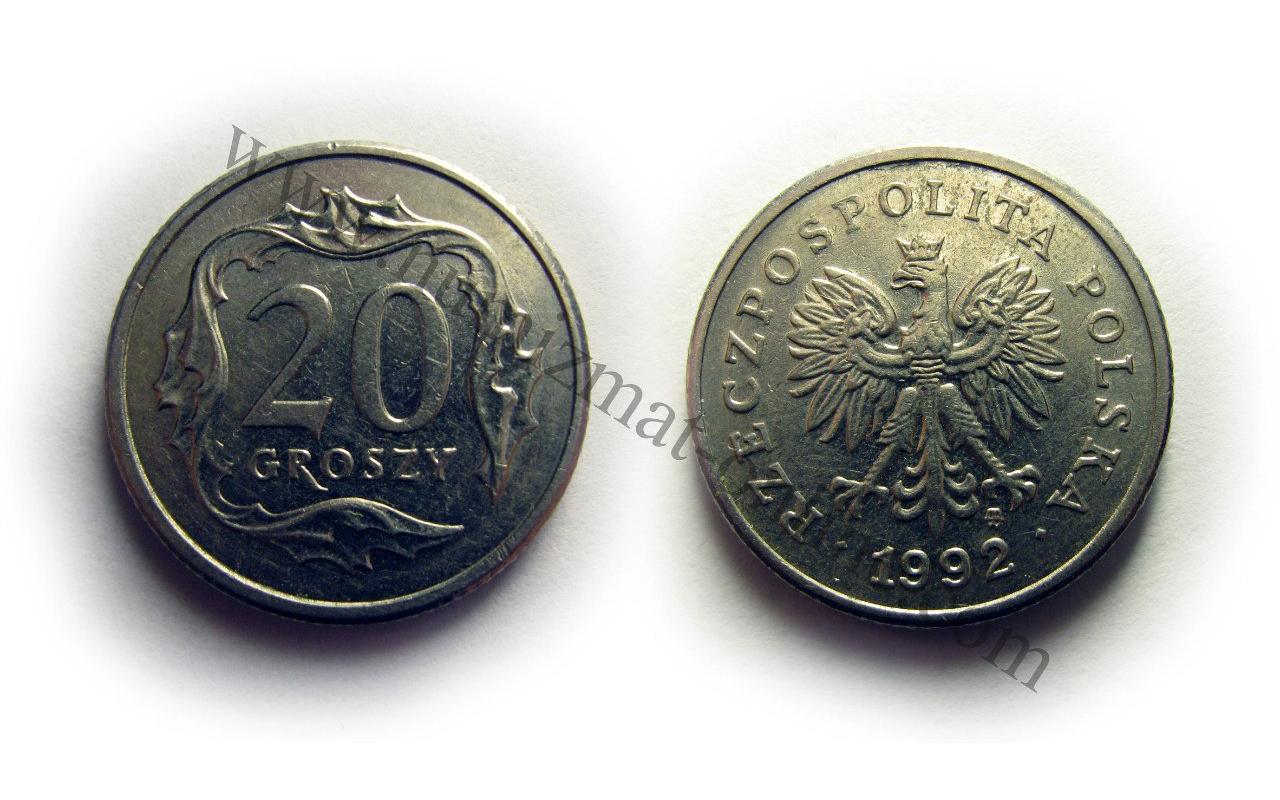 20 Грошей 1992 года. Польша. Аверс и Реверс