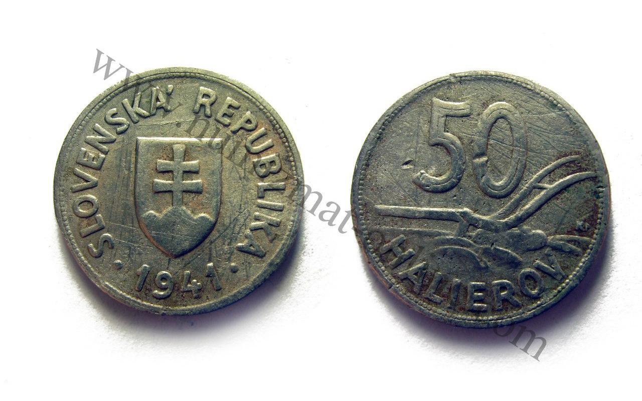 50 Халлеров 1941 года. Словенская республика. Аверс и реверс