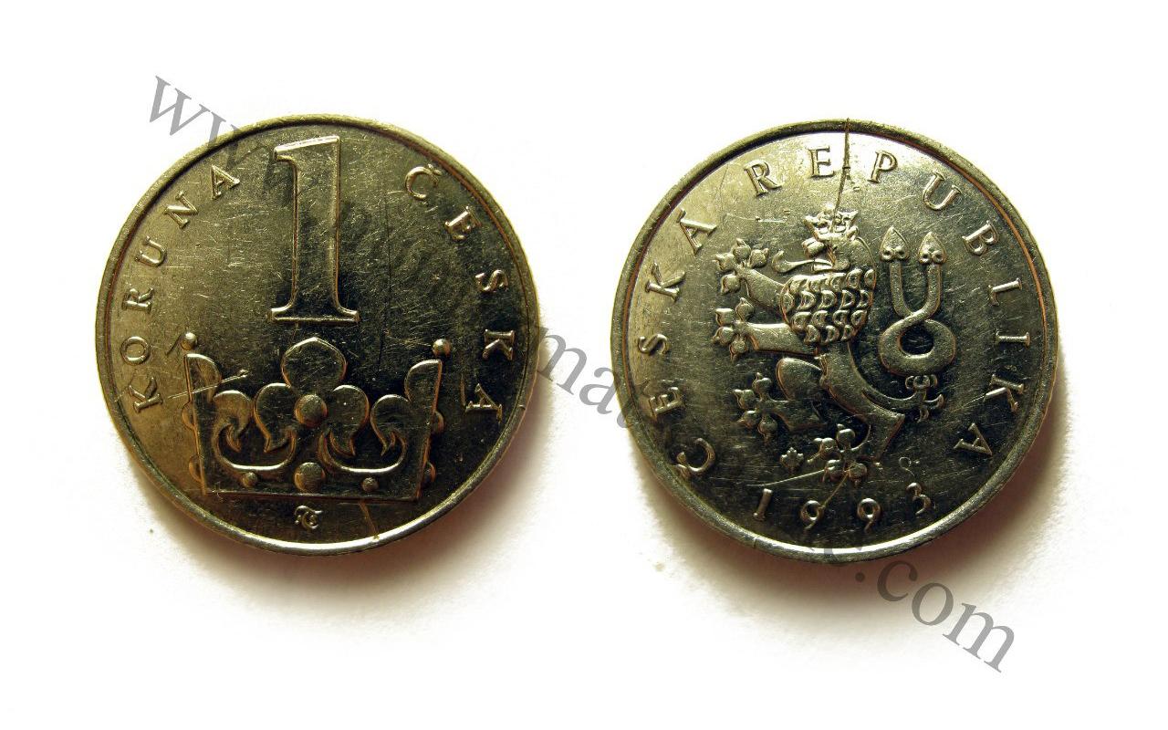 1 Чешская крона 1993 года. Аверс и Реверс