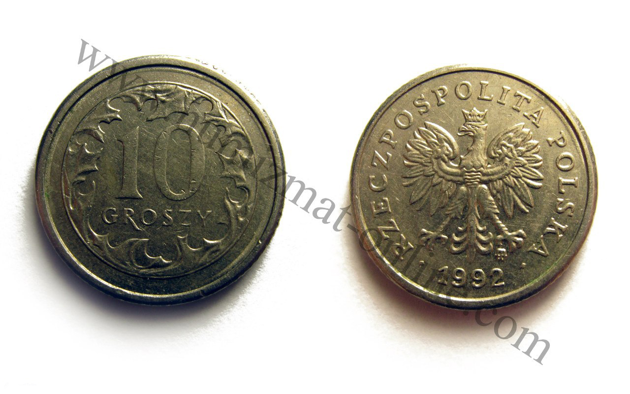 10 грошей 1992 год. Аверс и Реверс. Польша