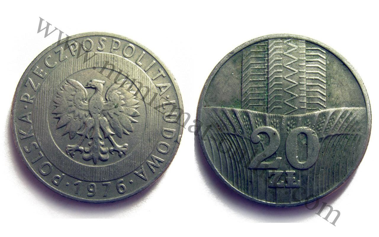 20 Злотых 1976 года. Польша. Аверс и Реверс