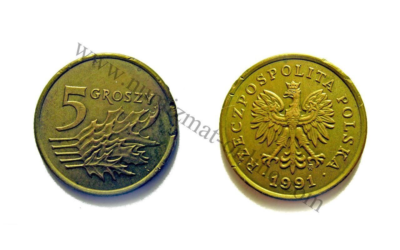 5 Грошей 1992 года. Польша. Аверс и Реверс