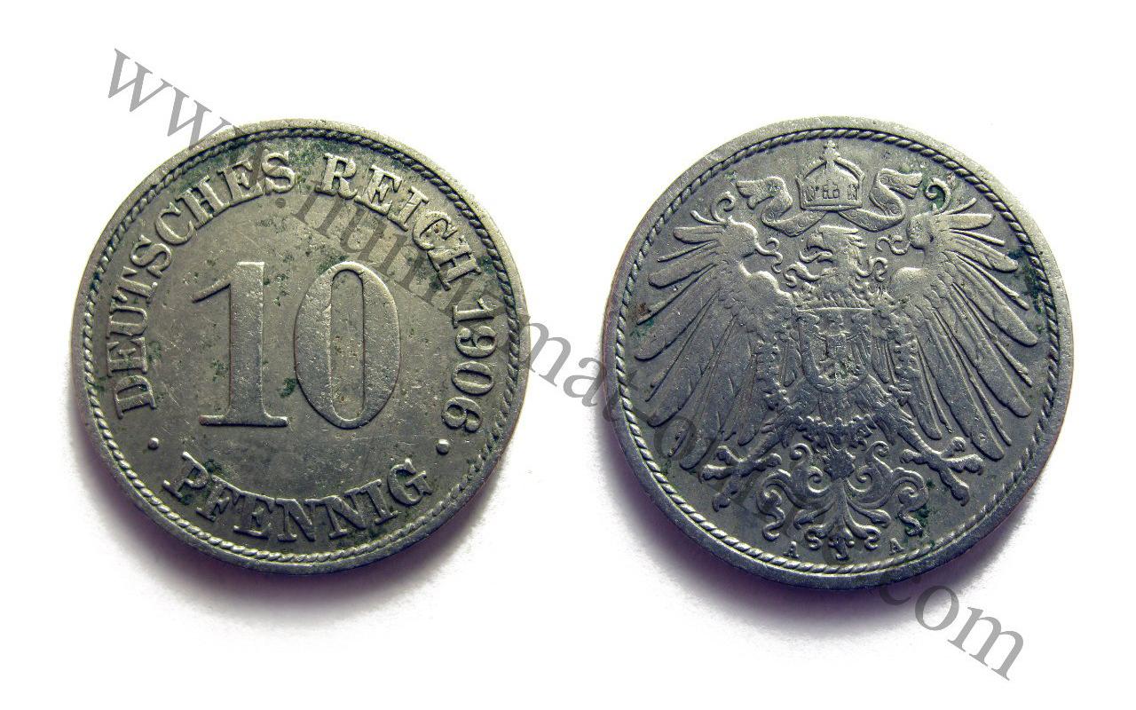 10 пфеннигов 1906 года. Аверс и Реверс. Германская Республика