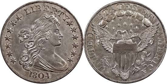 Один доллар 1804 года. Новый вариант штемпельного рисунка аверса и реверса