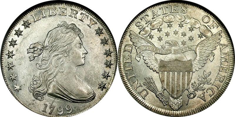 Доллар 1799 года выпуска. Новый вариант рисунка аверса и реверса