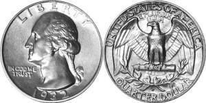 Четверть доллара (quarter dollar) 1932-1964г. Вашингтон