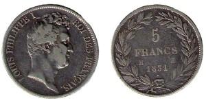 5 франков Луи-Филиппа I 1831-1848г. Louis Philippe