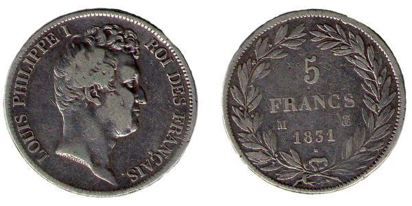 5 франков Луи-Филиппа I 1831-1848г
