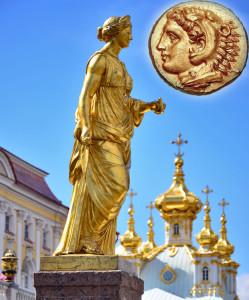 Статуя богини Юноны в Санкт-Петербурге и древняя монета с профилем богини