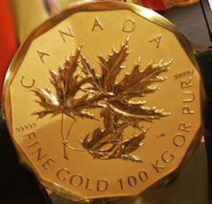 Золотая монета 1000000 канадских долларов