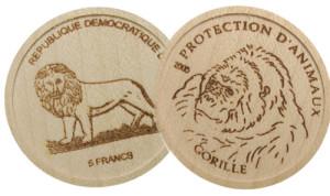 Монеты государства Конго из дерева