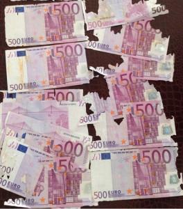 Ветхие банкноты Евросоюза
