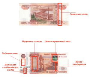 Элементы защиты на купюре 5000 рублей