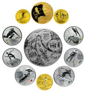 Золотые и серебряные монеты к Олимпиаде в Сочи