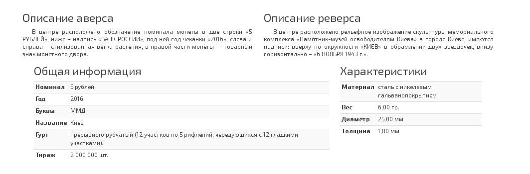 Описание монеты 5 рублей Киев. 6.11.1943 г.