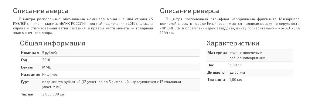 Описание монеты 5 рублей Кишинев. 24.08.1944 г.