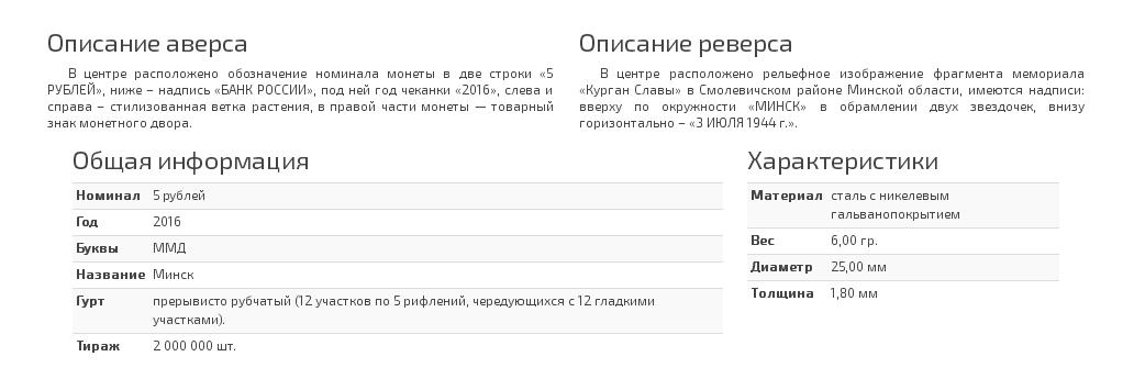 Описание монеты 5 рублей Минск. 3.07.1944 г.