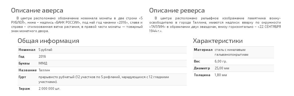 Описание монеты 5 рублей Таллин. 22.09.1944 г.