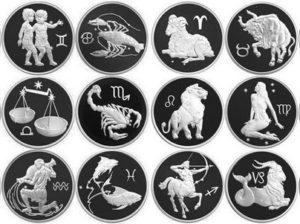Серебряные монеты из серии Знаки зодиака 2002 года