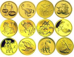 Золотые монеты Знаки зодиака