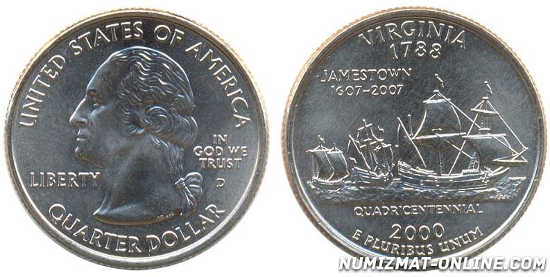 Монета-перевертыш 1/4 доллара 2000г. США