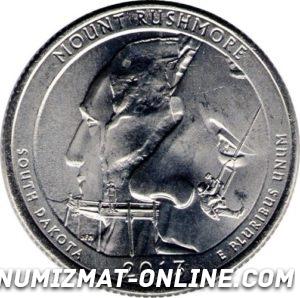 25 центов Мемориал Маунт-Рашмор